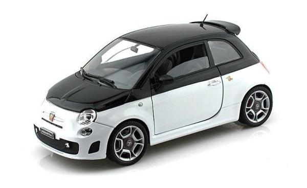 2009 Fiat Abarth 500 (Zwart/wit) - Motor Max 1:24