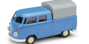 1963 Volkswagen T1 Double Cabin Pick Up blauw - Welly 1:34
