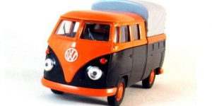 1963 Volkswagen T1 Double Cabin Pick Up oranje - Welly 1:34