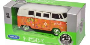 1963 Volkswagen T1 Bus (oranje) Love - Welly 1:34