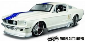 Ford Mustang GT (Wit/Blauw) 1:24 Maisto