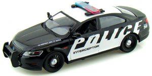 Ford Police Inceptor (Zwart/Wit) 1:24 Motor Max