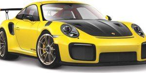 Porsche 911 GT2 RS (Zwart/Geel) 1:24 Bburago