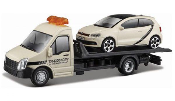 Bburago Flatbed transporter met VW Polo Gti 1:43