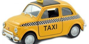 Fiat Nuova 500 Taxi (Geel) 1:24 Welly