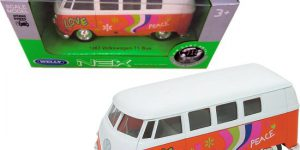 1963 Volkswagen T1 Bus (Oranje/Wit) 1/34 Welly