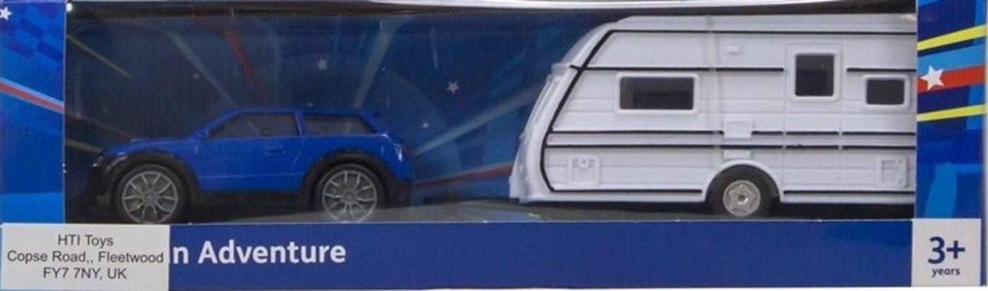 Auto met caravan (Blauw) 1/43