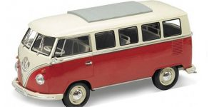 1963 Volkswagen T1 Bus (Rood/Wit) 1/24 Welly