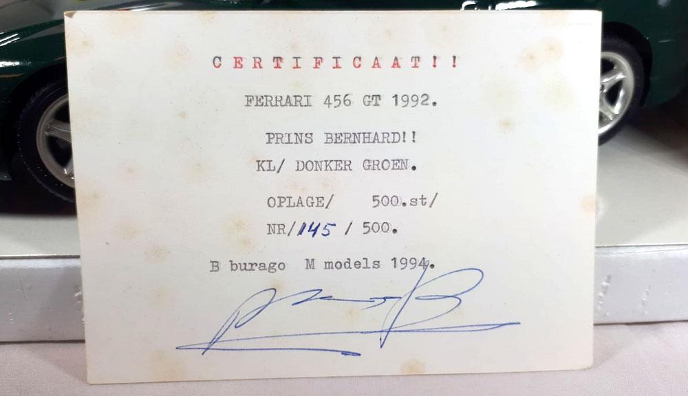 Prins Bernhard Gesigneerd Schaalmodel | Ferrari 456GT (1992) Donkergroen 1/18 Bburago Diamonds Collection