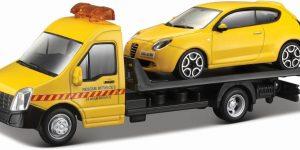 Bburago Flatbed Transporter met Alfa Romeo Geel 1:43