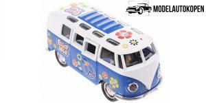 Flower Power Bus Metal Pull Back met licht en geluid (Blauw) 18 cm Toi-Toys