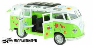 Flower Power Bus Metal Pull Back met licht en geluid (Groen) 18 cm Toi-Toys