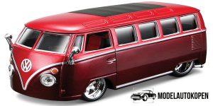 Volkswagen T1 Bus Samba (Bordeaux Rood) 1/32 Bburago