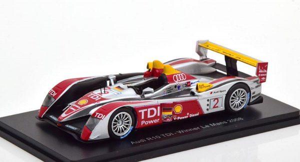 Audi R10 TDI - Winner Le Mans 2008 (Zilver) 1/43 Spark