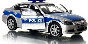 BMW 330i Polizei Politie auto (Zilver) 1/43 Welly