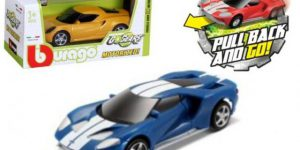 Ford GT Pull Back (Blauw/Wit) 1/43 Bburago