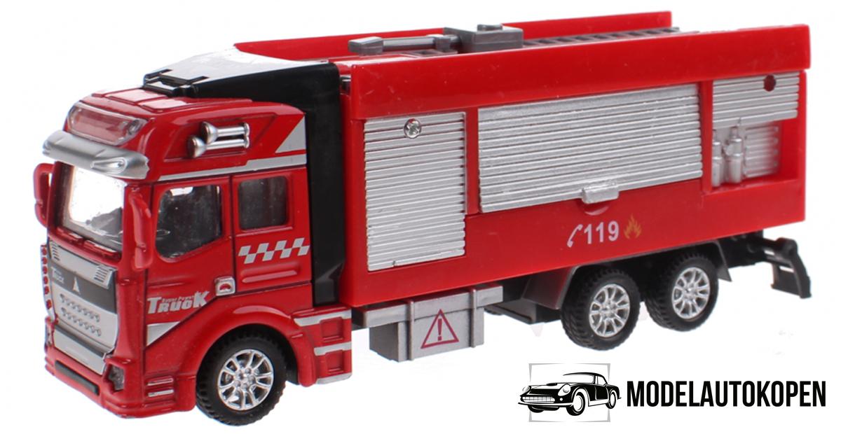 Brandweerauto Uitschuif Ladder Pull Back Metal (Rood)