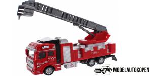 Brandweerauto Uitschuif Ladder met bakje Pull Back Metal (Rood)