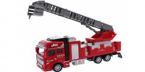 Brandweerauto Uitschuif Ladder met bakje Pull Back Metal (Rood) Toi Toys