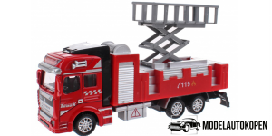 Brandweerauto Uitschuif Platform Pull Back Metal (Rood)