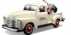 Chevrolet 3100 Pickup + FLSTS Her Springer (Harley Davidson) 1/24 Maisto