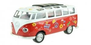 Flower Power Bus Metal Pull Back met licht en geluid (Rood) 18 cm Toi-Toys