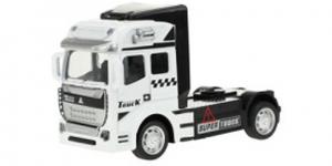 Vrachtwagen Truck Cabin Metal Pull Back (Wit) 12 cm Toi Toys