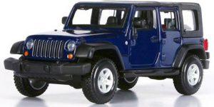 Jeep Wrangler (Blauw/Zwart) 1/32 Bburago