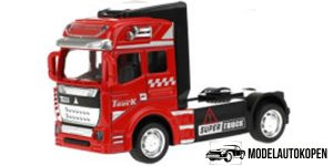 Vrachtwagen Truck Cabin Metal Pull Back (Rood) 12 cm Toi Toys