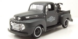 Ford F1 Pickup 1948 + Harley Davidson WLA FLATHE (Grijs) 1/24 Maisto