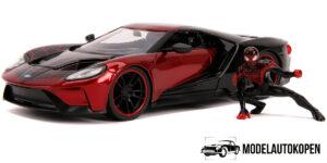 2017 Ford GT + Spiderman Miles Morales Figuur (Rood/Zwart) 1/24 Jada