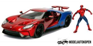 2017 Ford GT + Spiderman Figuur (Rood/Blauw) 1/24 Jada