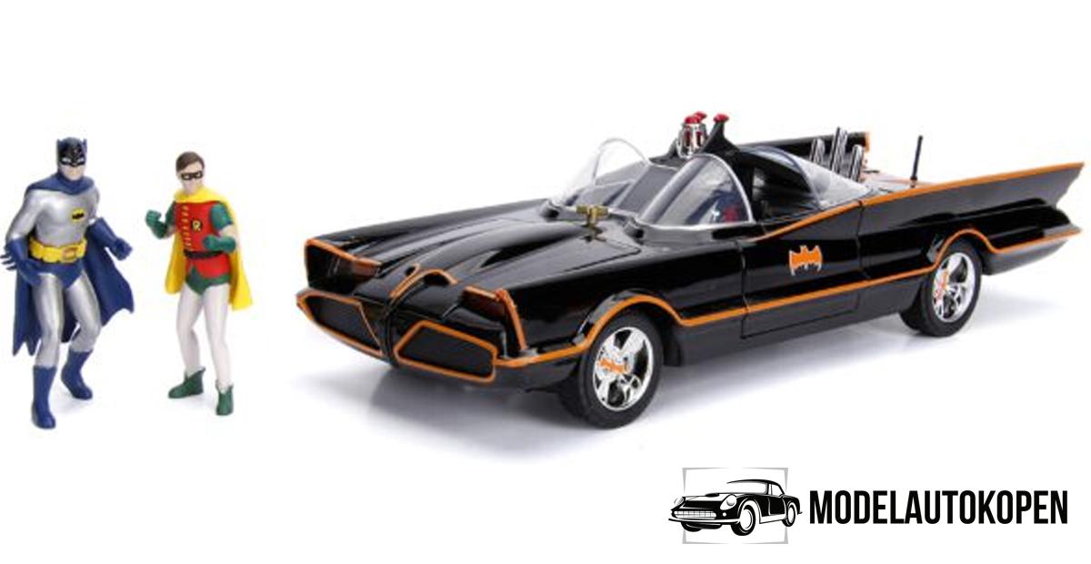 1966 Batmobile met Batman & Robin figuren - Inclusief verlichting (Zwart) 1/18 Jada