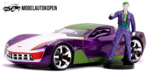 2009 Chevrolet Corvette Stingray + The Joker Figuur (Paars/Wit/Groen) 1/24 Jada