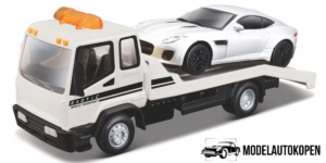Flatbed Transporter + Jaguar F-Type (Wit)
