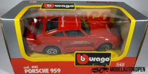 Porsche 959 (Rood) - Bburago 1:43 (Inclusief Doos)
