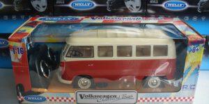 1963 Volkswagen TI Bus (Rood/Wit) (Radiografisch Bestuurbaar) 1/16 Welly