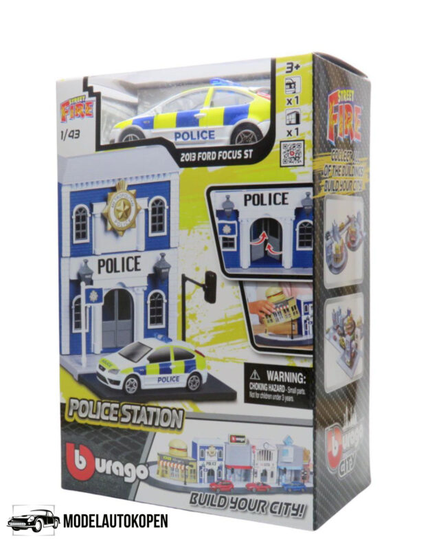 Bburago City Police Station - Ford Focus ST Politieauto 1/43 Speelgoed