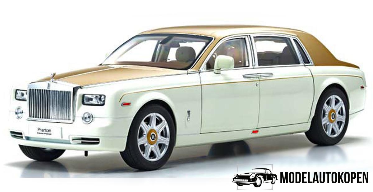 Rolls Royce Phantom EWB (White/Gold) (Exclusief Model) (40cm) 1/18 Kyosho