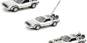 Back To The Future Delorean Set van 3 (Grijs) (15 cm) 1/24 Welly