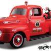 1948 Ford F1 Pick Up + 1936 El Knucklehead Harley Davidson (Rood) (20cm) 1/24 Maisto