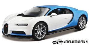 Bugatti Chiron (Wit/Lichtblauw) (17cm) 1/24 Maisto Design
