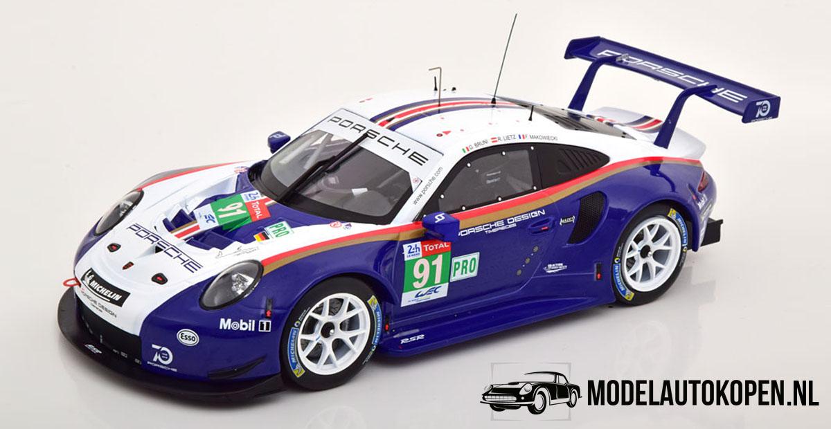 Porsche 911 GT3 RSR (Blauw/Wit) (30cm) 1/18 IXO Models