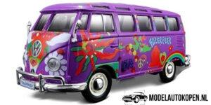 Volkswagen Van Samba Hippie Line (Paars) (15cm) 1/24 Maisto