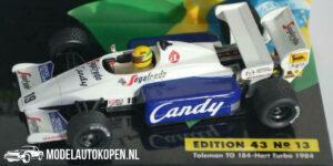 Toleman TG184 Hart Turbo 1984 (Wit) (10 cm) 1/43 Ayrton Senna Racing Car Collection