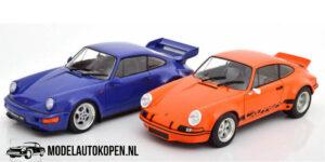 Porsche 911 RSR (Blauw) & Porsche 964 RS (Oranje) (25 cm) 1/18 Solido
