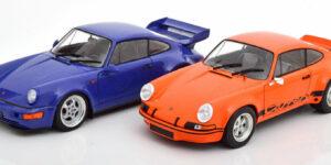 Porsche 911 RSR & Porsche 964 RS (Oranje) (25 cm) 1/18 Solido