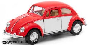 1967 Volkswagen Classic Beetle (Rood/Wit) (15 cm) 1/24 Kinsmart