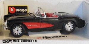 Chevrolet Corvette 1957 (Zwart/Rood) (25 cm) 1/18 Bburago