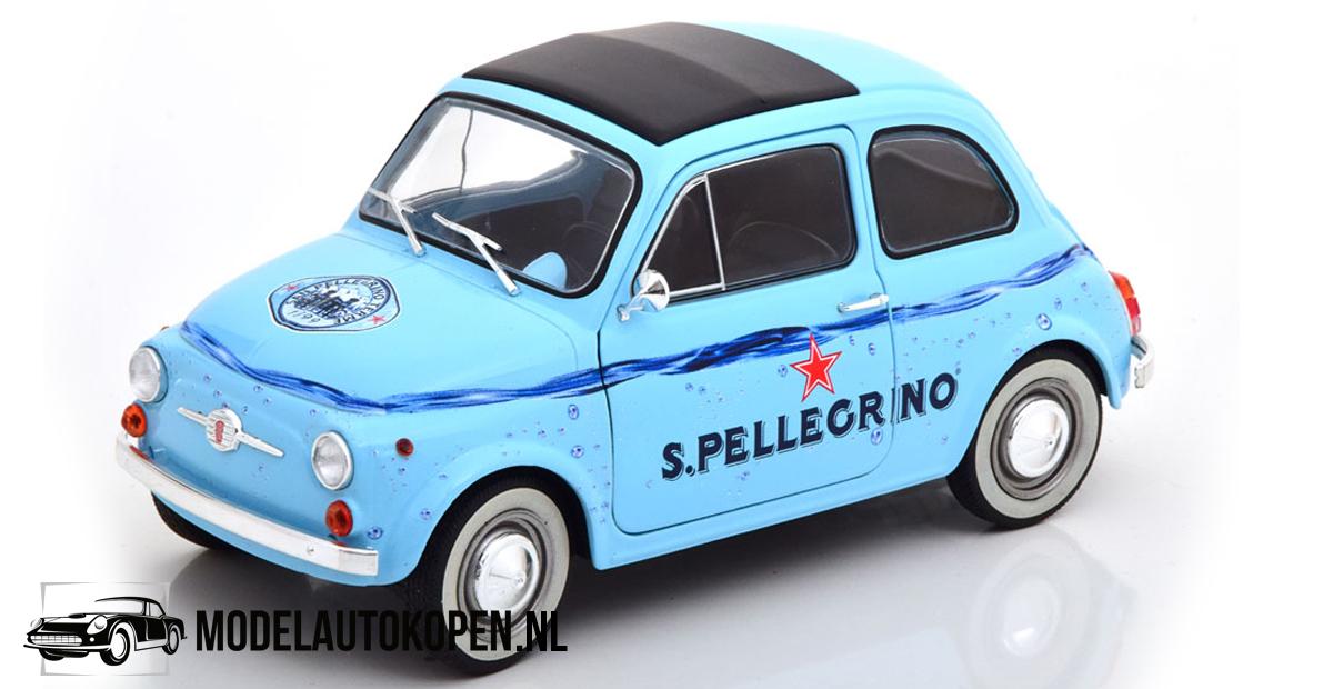 Fiat 500 1965 - S. Pellegrino (Lichtblauw) (15 cm) 1/18 Solido
